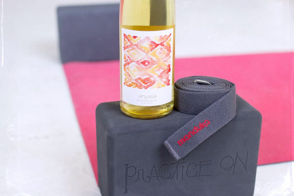 winc vinyasa yoga wine and mandrake yoga props