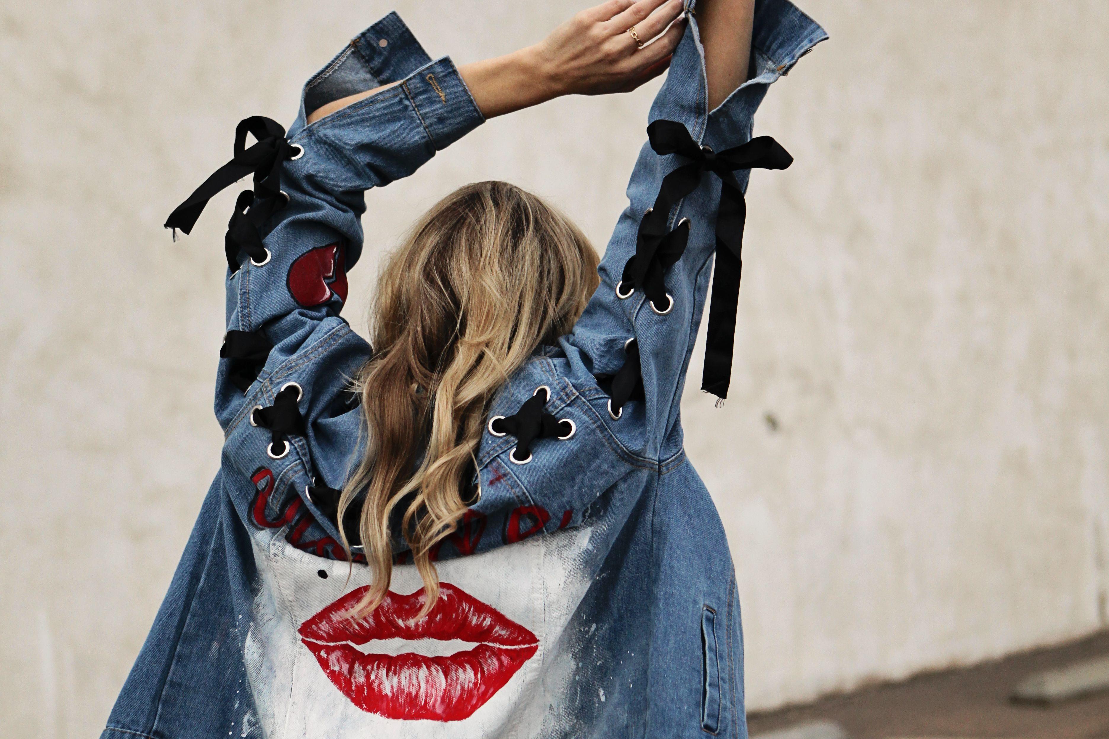 f97dc2339 Marilyn Monroe denim jacket painted back -